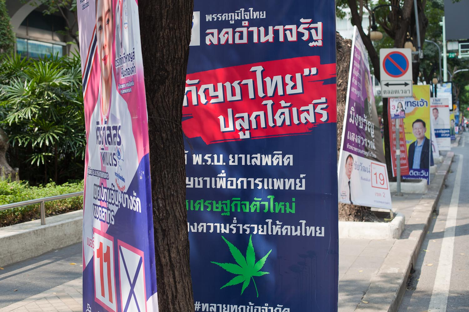 "Phak Phumjai Thai (Proud to Be Thai Party): ""Limit the state's power. Free cultivation of Thai cannabis. Correct the Narcotics Act. Cannabis for medical use. A new economy. Generate wealth for Thai people.""  To the left: Phak Chart Thai Phattana (Thai Nation Development Party)"